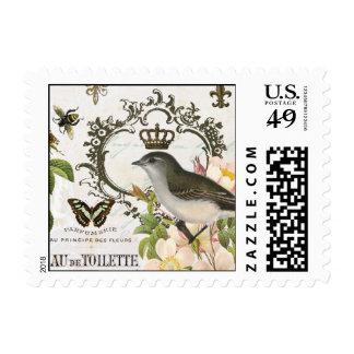 Pájaro francés del vintage con el sello de la