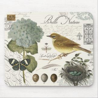 pájaro francés y jerarquía del vintage moderno tapetes de raton