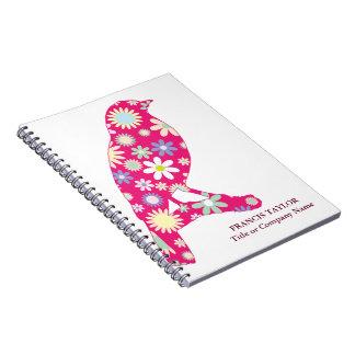 Pájaro fucsia original elegante con el estampado libro de apuntes