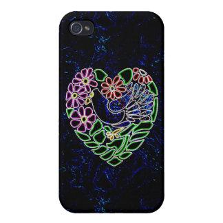 Pájaro gótico en corazón iPhone 4/4S fundas