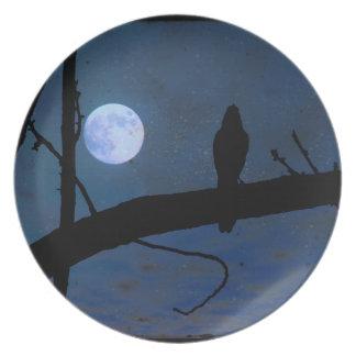 """Pájaro gótico y luna azul 10"""" del negro del cuervo plato"""