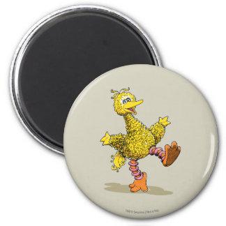 Pájaro grande del arte retro imán redondo 5 cm