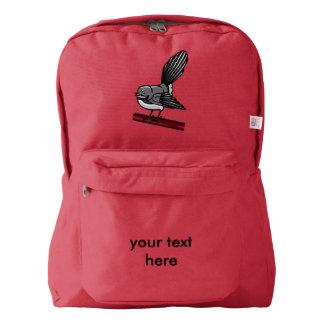 Pájaro gris lindo de la cola de milano pequeño mochila