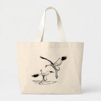 Pájaro/grúa que chilla bolsa tela grande