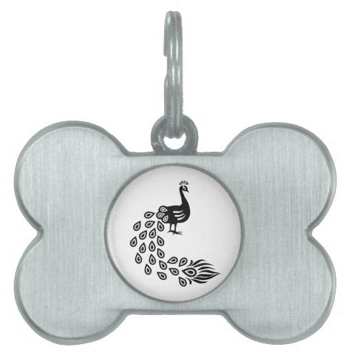 Pájaro hermoso del pavo real placas mascota