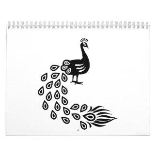 Pájaro hermoso del pavo real calendarios de pared