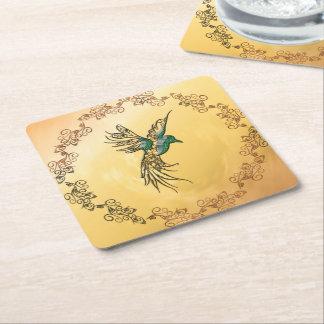 Pájaro hermoso, elegante posavasos de cartón cuadrado