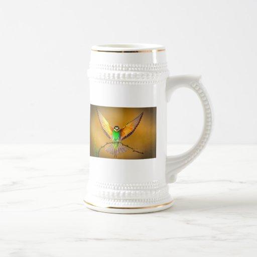 Pájaro hermoso jarra de cerveza