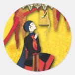 PÁJARO IMPERIAL en rojo, azul y amarillo Pegatina Redonda