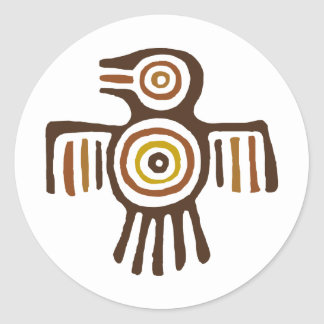 Pájaro indio americano pegatina redonda