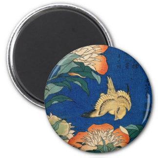 Pájaro japonés de la flor del vintage imán redondo 5 cm