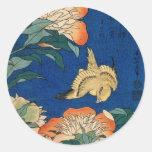 Pájaro japonés de la flor del vintage pegatina redonda