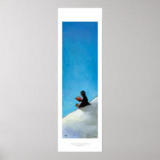 Pájaro lindo de la diversión del arte del pingüino poster