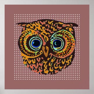 pájaro lindo decorativo del búho póster