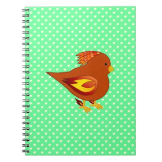 Pájaro lindo del fuego libro de apuntes