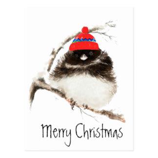 Pájaro lindo del invierno en el gorra, navidad, hu tarjeta postal