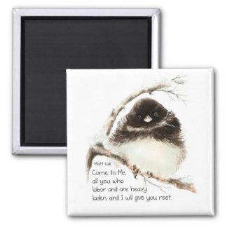 Pájaro lindo del Junco, escritura, 11:28 de Matt, Imán Cuadrado