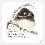 Pájaro lindo del Junco, escritura, 11:28 de Matt, Pegatina Cuadradas Personalizada