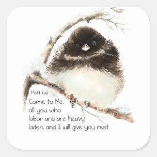 Pájaro lindo del Junco, escritura, 11:28 de Matt, Pegatina Cuadrada