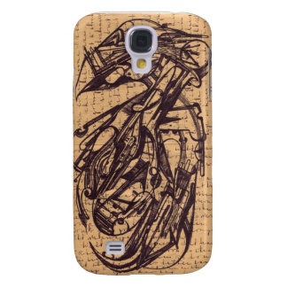 Pájaro: Manchado de tinta escribe el Pokey 1909 Funda Para Galaxy S4