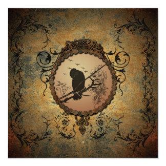 """Pájaro maravilloso en un círculo hecho del metal invitación 5.25"""" x 5.25"""""""