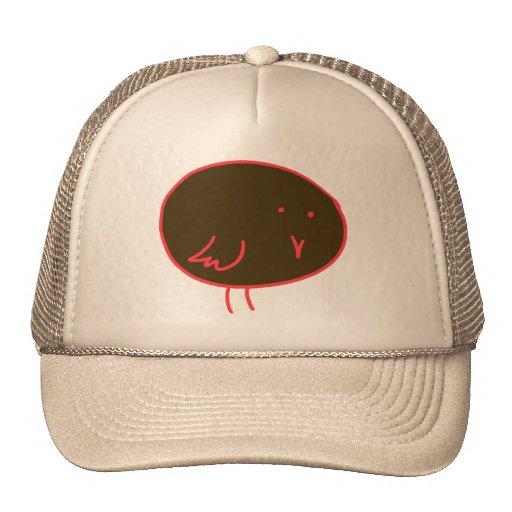 Pájaro marrón y rojo gorra