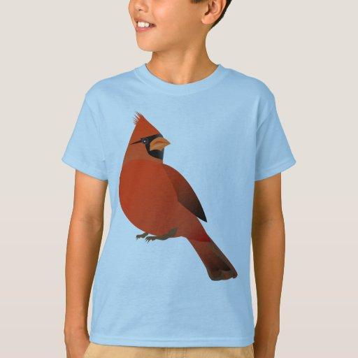 Pájaro masculino cardinal rojo remera