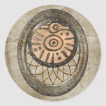 Pájaro maya pegatina redonda