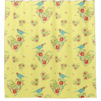 Pájaro modelado margarita en forma de corazón de cortina de baño