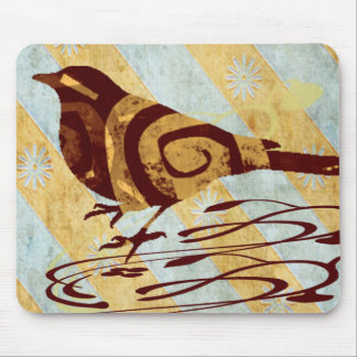 Pájaro modelado y remolinos tapete de ratón