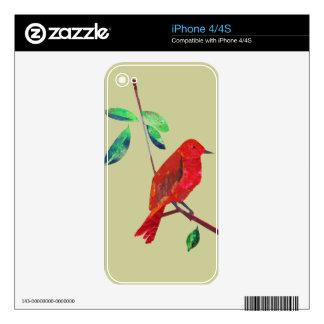 Pájaro moderno del arte abstracto de la naturaleza skins para iPhone 4