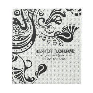 Pájaro-Monograma abstracto retro blanco de Phoenix Libretas Para Notas