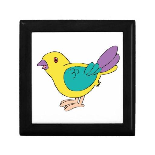 Pájaro multicolor del dibujo animado caja de recuerdo