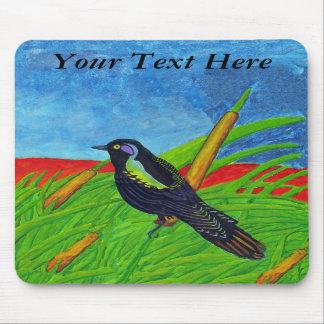 Pájaro negro colorido Mousepad Tapetes De Raton