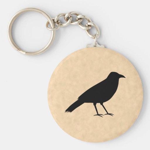 Pájaro negro del cuervo en un modelo del pergamino llavero redondo tipo pin