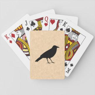 Pájaro negro del cuervo en un modelo del pergamino baraja de cartas