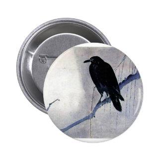 Pájaro negro del cuervo pin redondo de 2 pulgadas