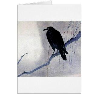 Pájaro negro del cuervo tarjetón