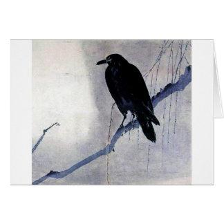 Pájaro negro del cuervo felicitacion