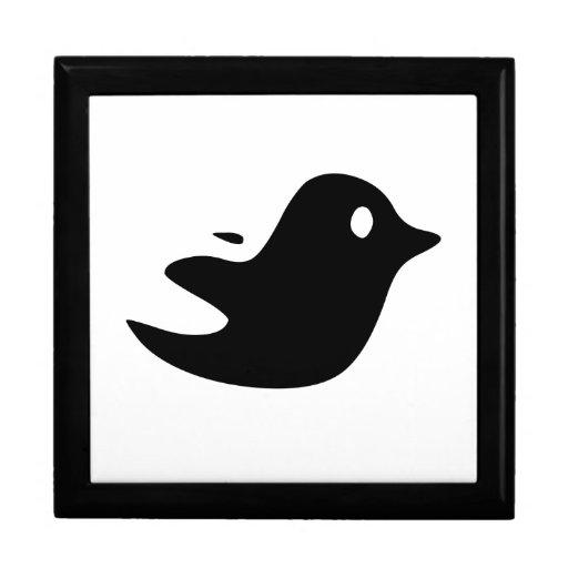 Pájaro negro del dibujo animado caja de recuerdo