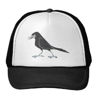 Pájaro negro feliz del cuervo gorra