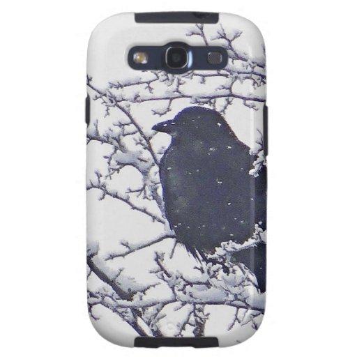 Pájaro negro lindo en ramas nevosas samsung galaxy SIII funda