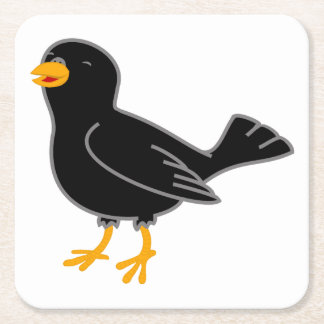 Pájaro negro posavasos de cartón cuadrado