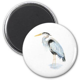 Pájaro original de la garza de gran azul de la acu imán redondo 5 cm