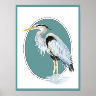 Pájaro original de la garza de gran azul de la acu póster