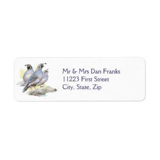 Pájaro original de las codornices de California de Etiquetas De Remite