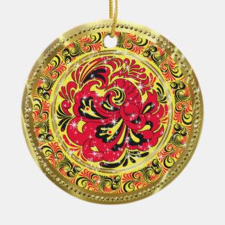 Pájaro-Oro y chispas abstractos rojos de Phoenix Adorno Redondo De Cerámica