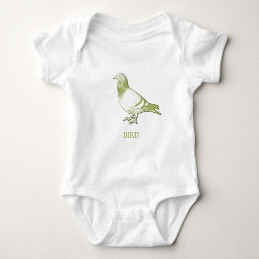 Pájaro (paloma) en mameluco sabio suave del bebé