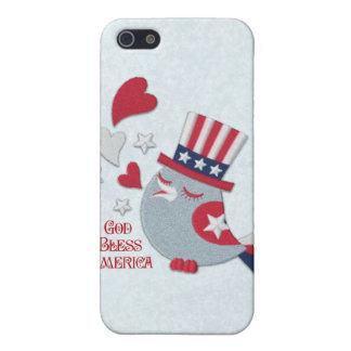 Pájaro patriótico de los píos blanco rojo y azul iPhone 5 cárcasa