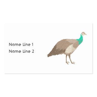 Pájaro. Peahen. Plantillas De Tarjetas Personales